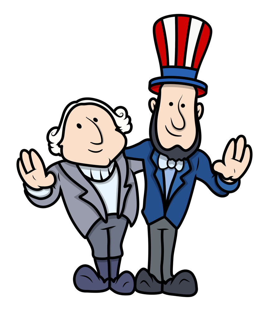 washington and lincoln vector cartoons on presidents day