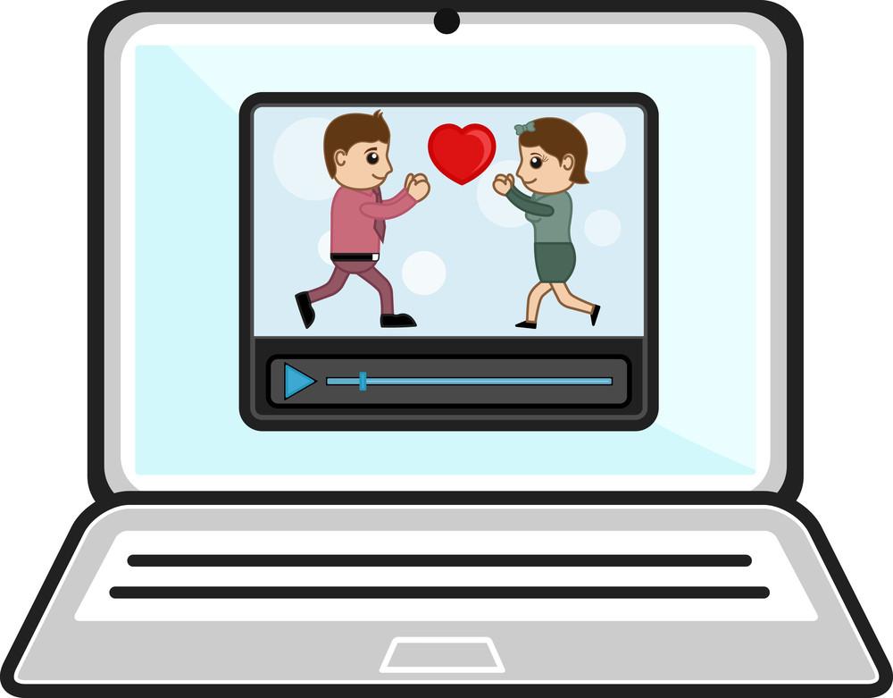 Watching Videos Over Laptop - Business Cartoons Vectors