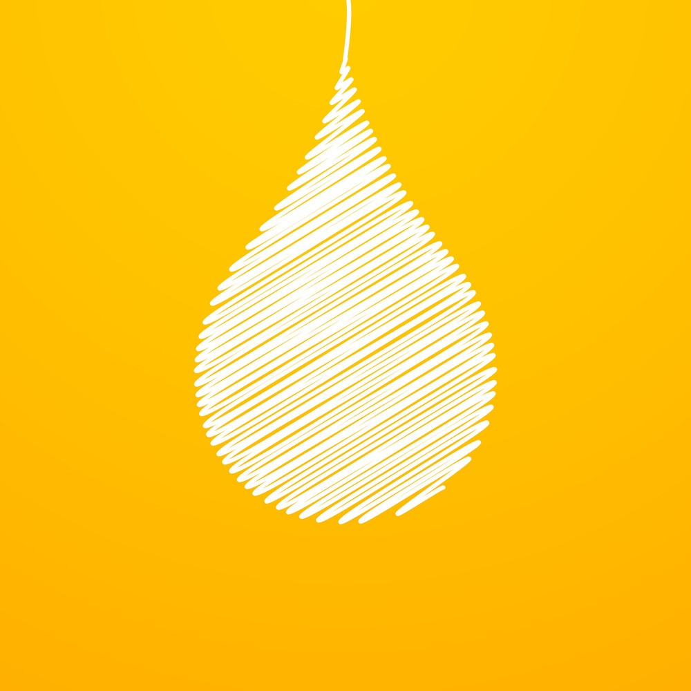 Water Drop On Abstract Yellow Background