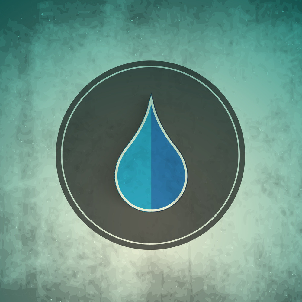 Water Drop On Grey Background Can Be Used As Sticker