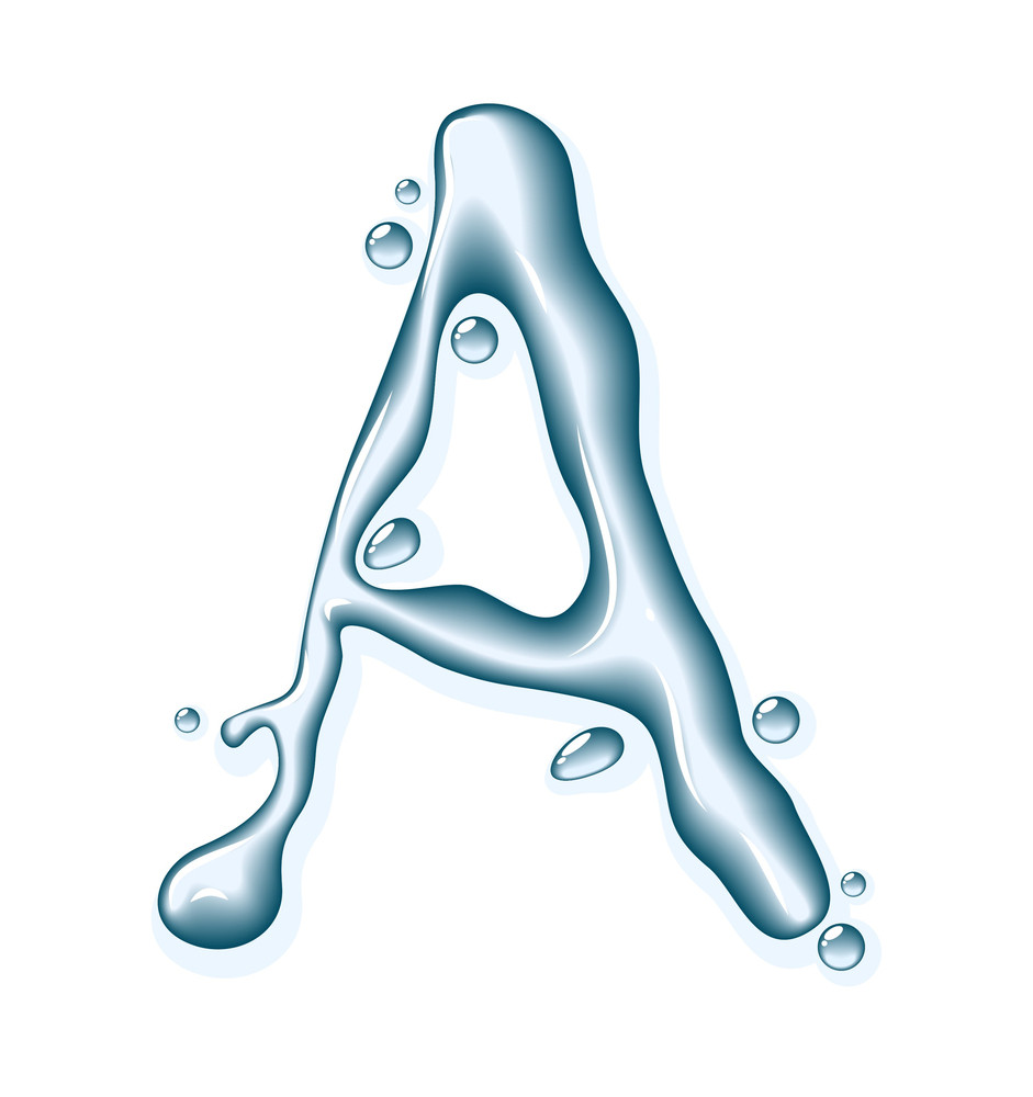 Water Liquid Vector Alphabet.