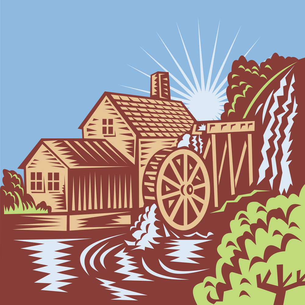 Water Wheel Mill House Retro