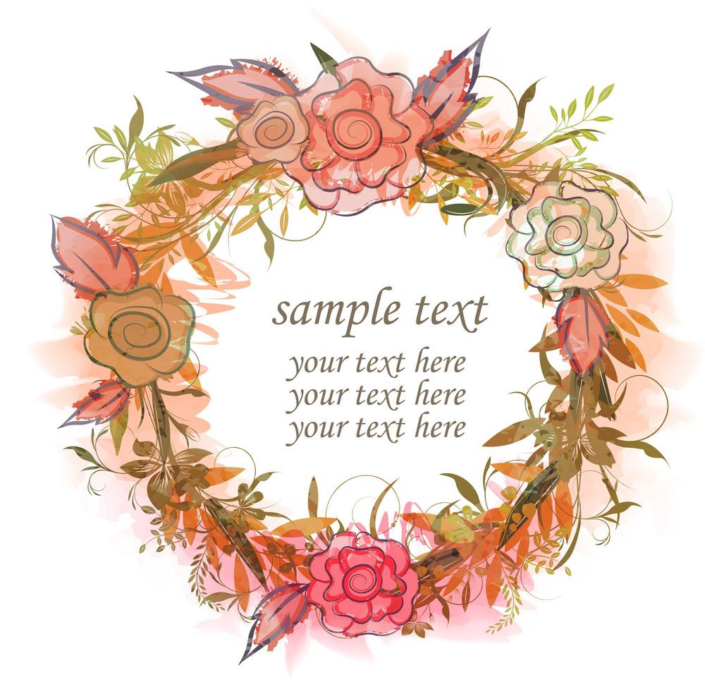 Watercolor Floral Frame Vector Illustration