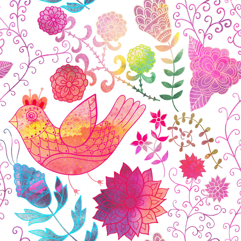 Watercolor Texture With Flowers.copy That Square To The Side And You'll Get Seamlessly Tiling Pattern Which Gives The Resulting Image The Ability To Be Repeated Or Tiled Without Visible Seams