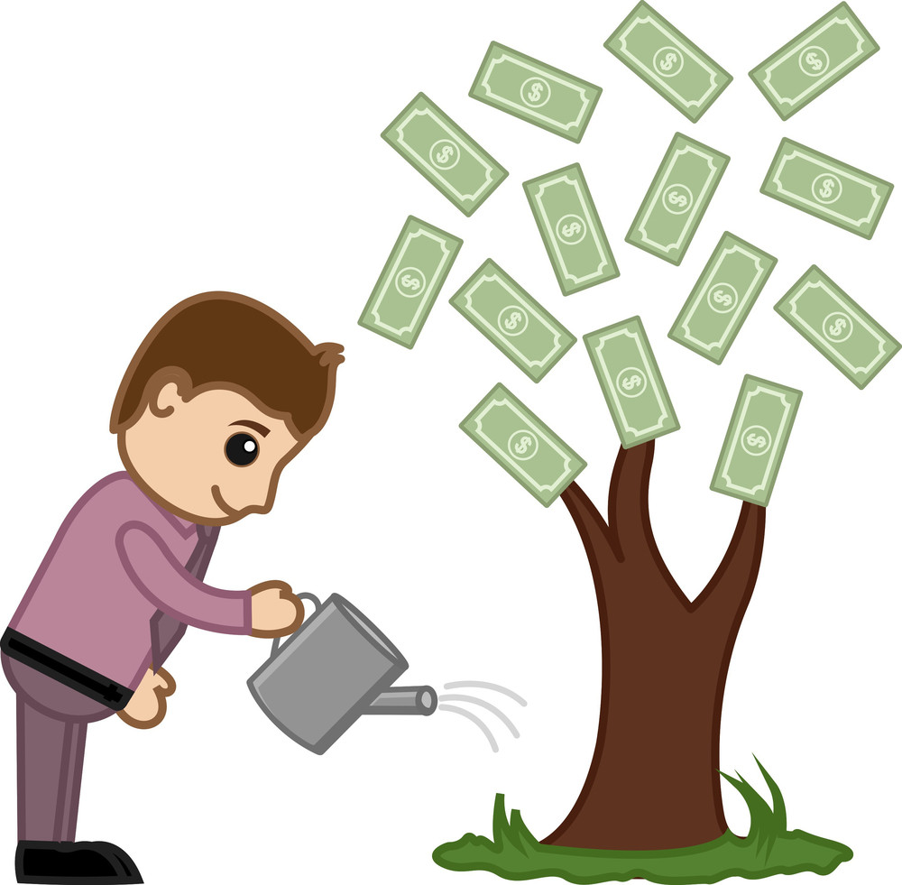 Watering Money Tree - Vector Illustration