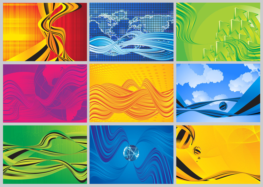 Wave And Flow Vector Background Set.