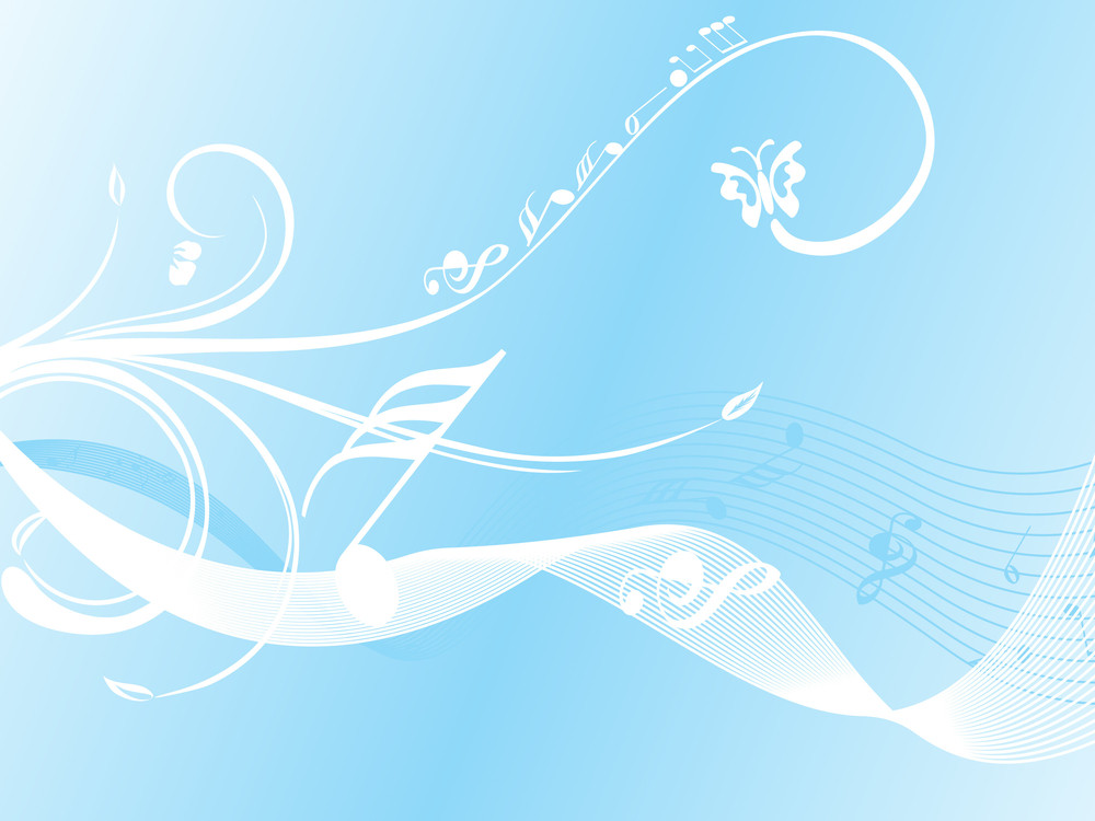 Wave Background With Floral And Musical Note