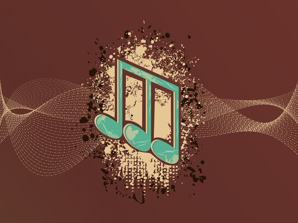 Wave Background With Grungy Musical Notes