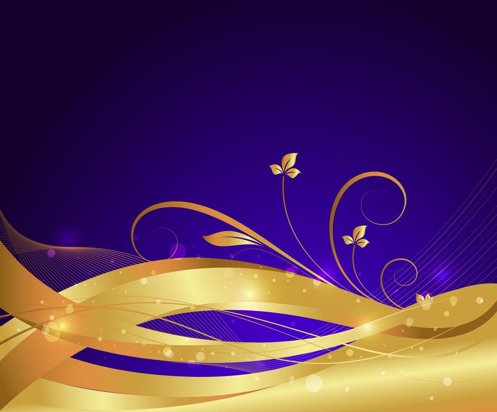 Wave Golden Floral Background