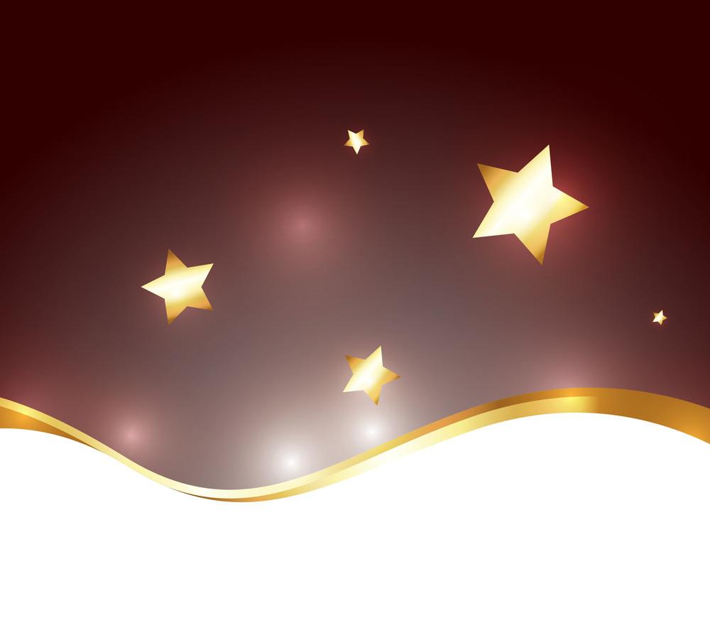 Wave Golden Stars Background