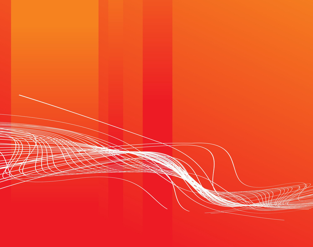 Waves Concept On Orange Background