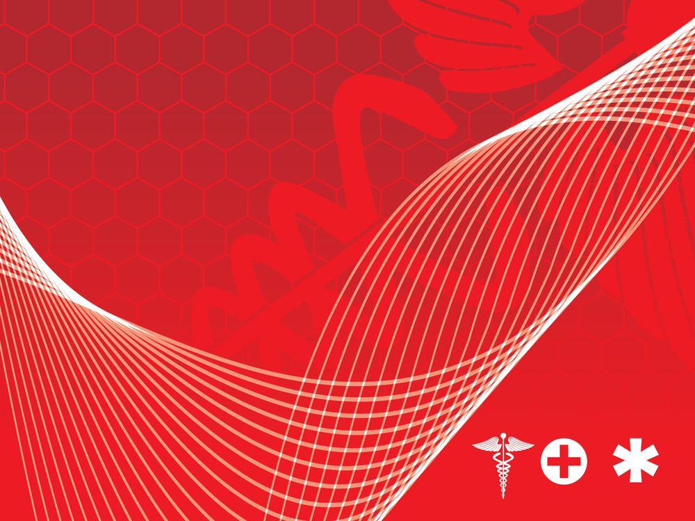 Waves With Medical Caduceus Logo Silhouette In Red