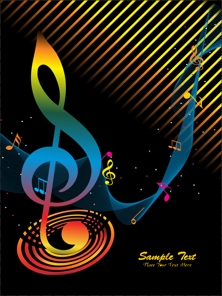Wavy Background With Colorful Musical Notes