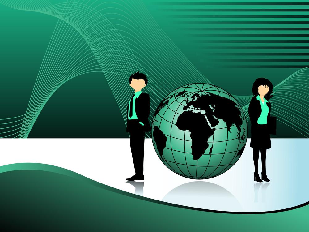Wavy Background With Globe