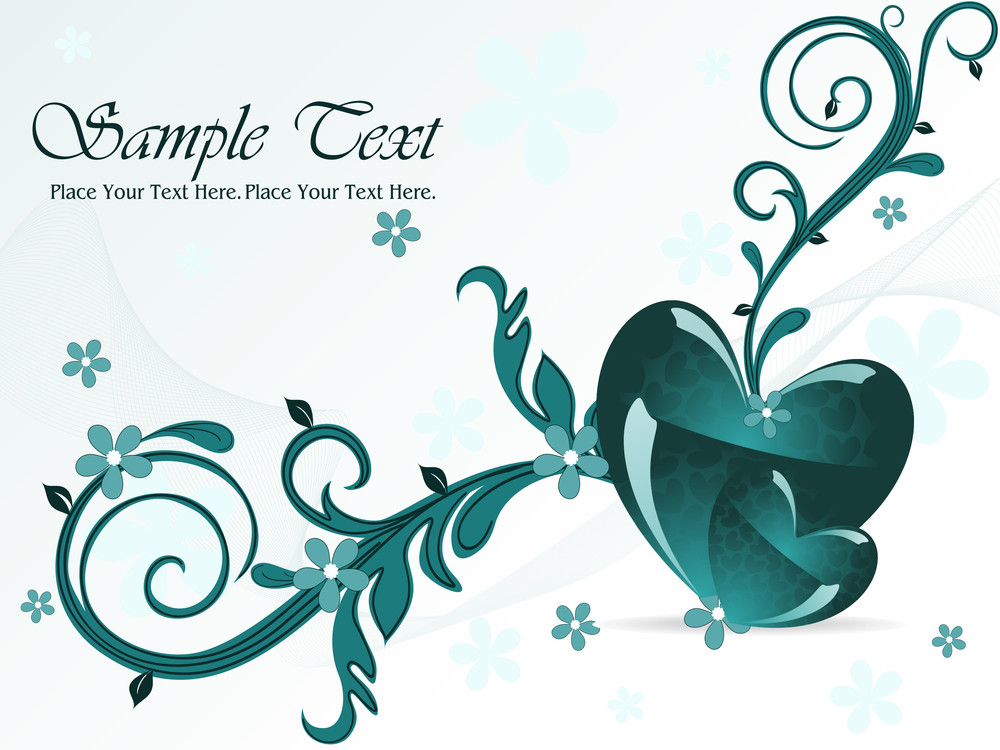 Wavy Background With Romantic Heart