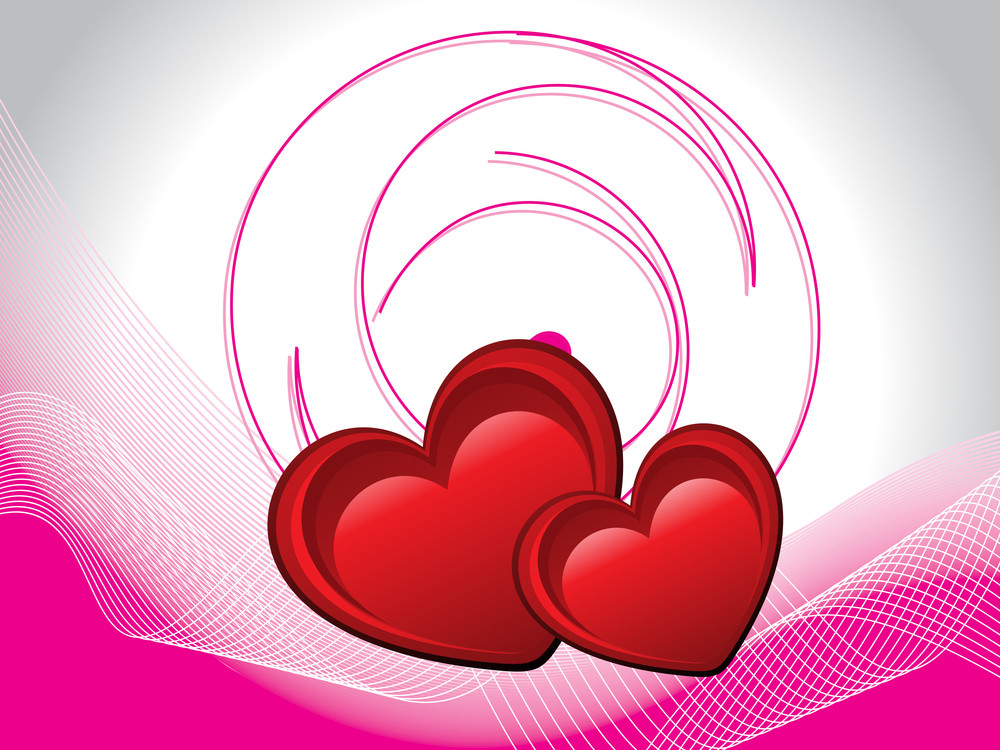 Wavy Background With Romantic Pink Heart