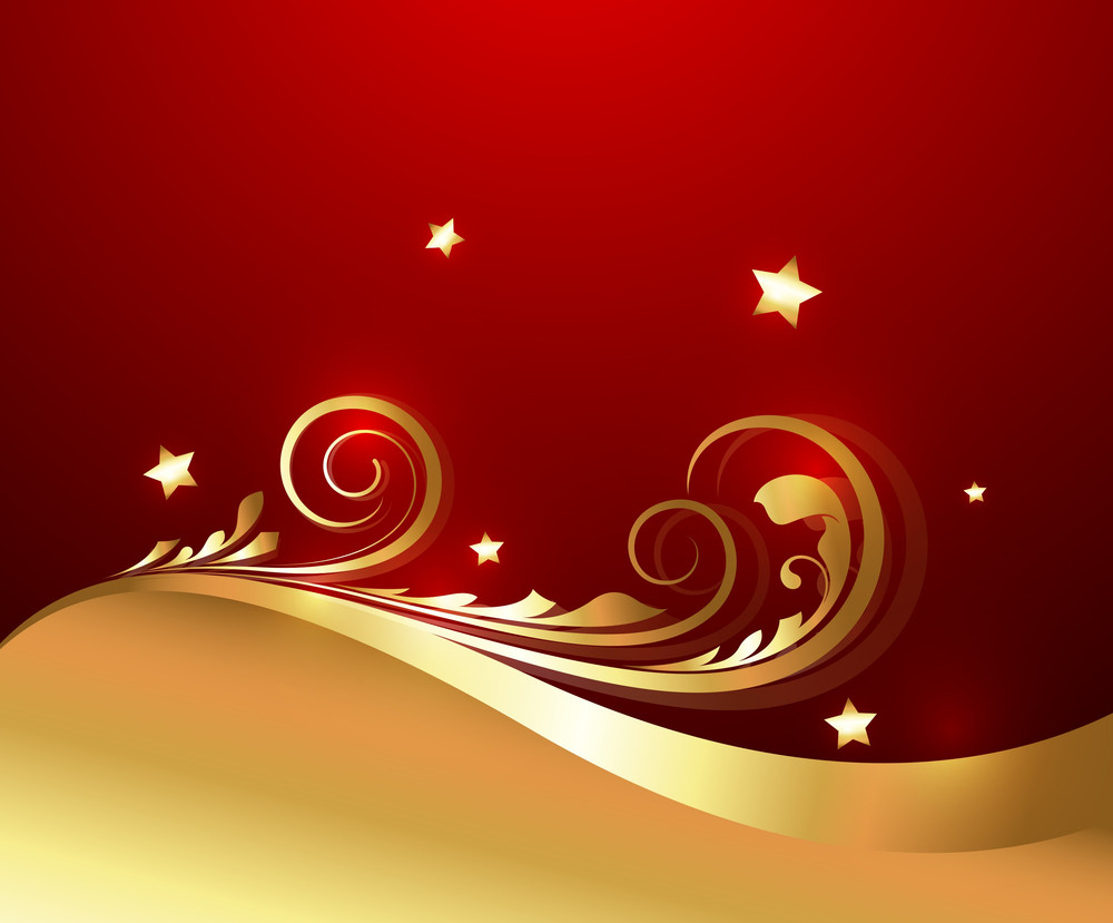 Wavy Golden Christmas Floral Background
