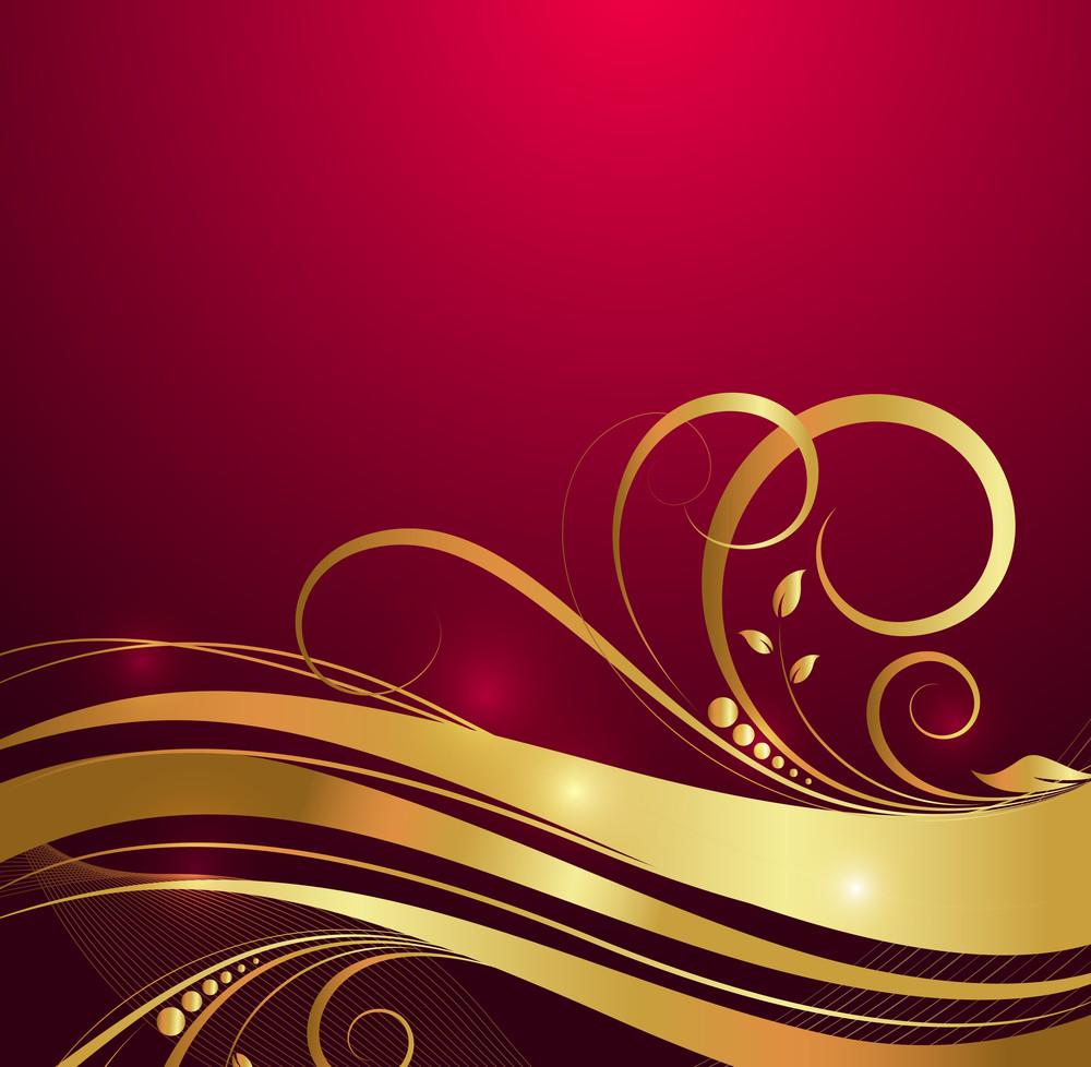 Wavy Golden Floral Background