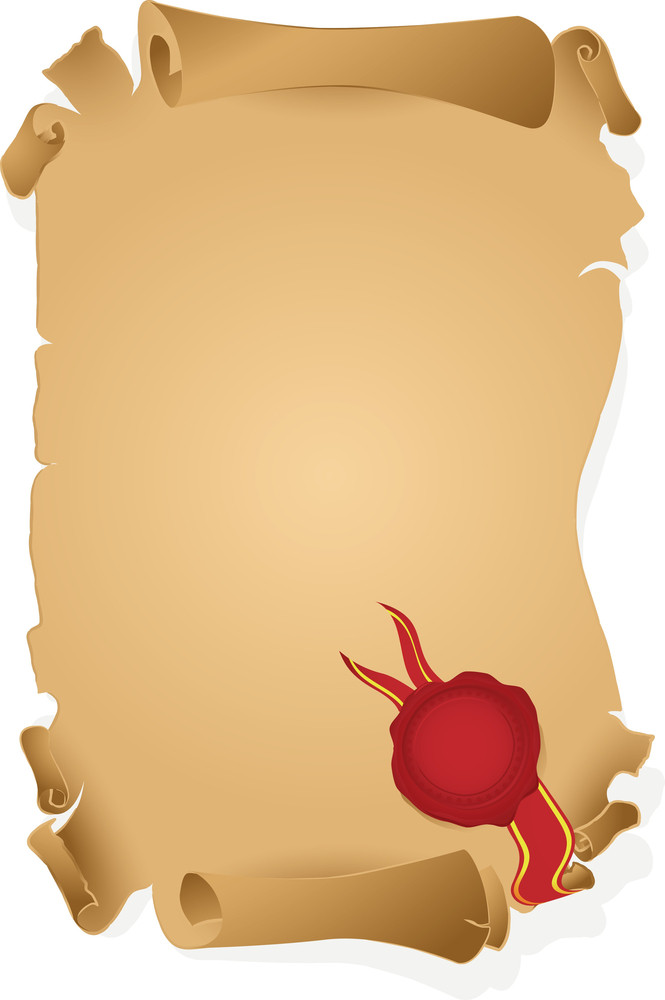Wax Sealed Parchment. Vector. (easy To Edit - No Gradient Meshes Used)