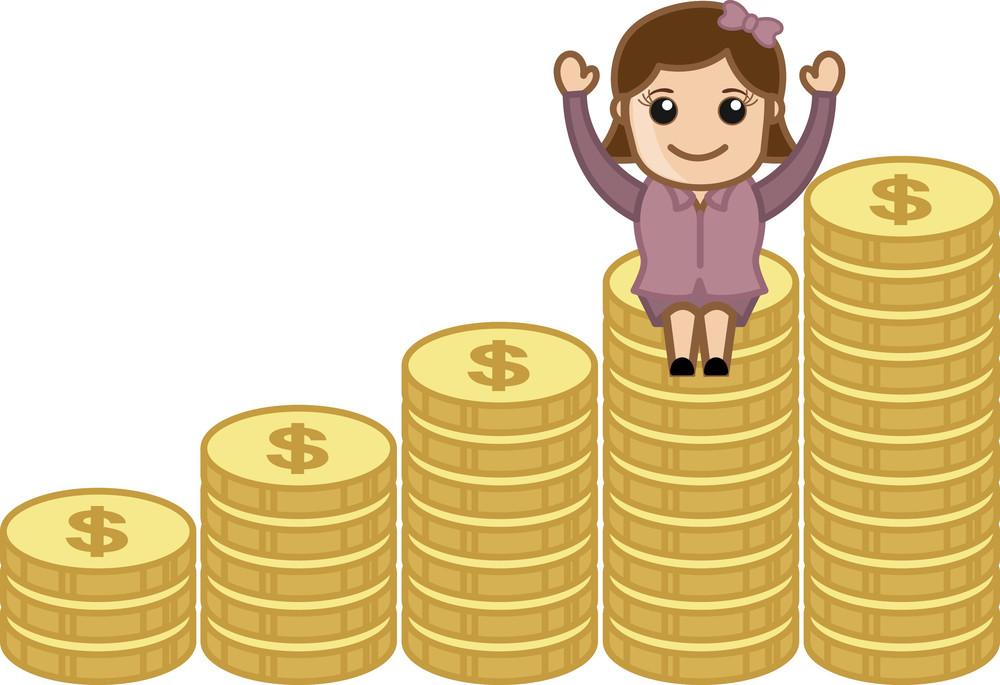 Wealth - Earn Money Concept - Business Cartoons Vectors