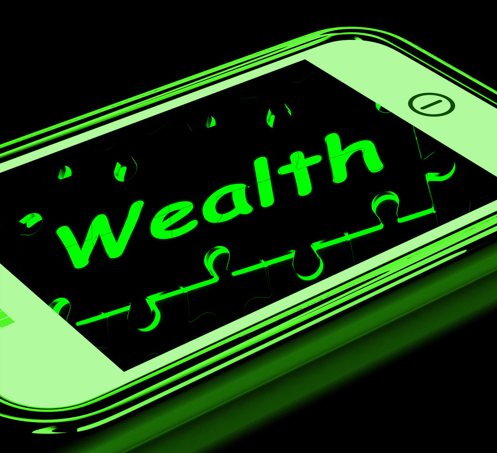 Wealth On Smartphone Shows Financial Treasures