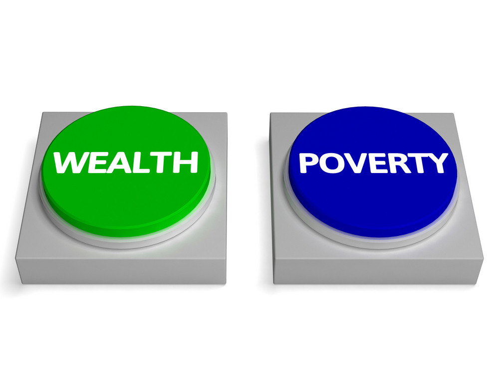 Wealth Poverty Buttons Shows Wealthy Or Penniless
