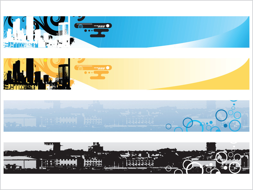 Web 2.0 Style Grunge City Series Website Banner Set 1