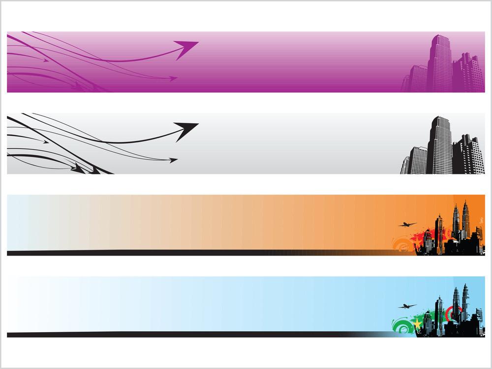 Web 2.0 Style Grunge City Series Website Banner Set 2