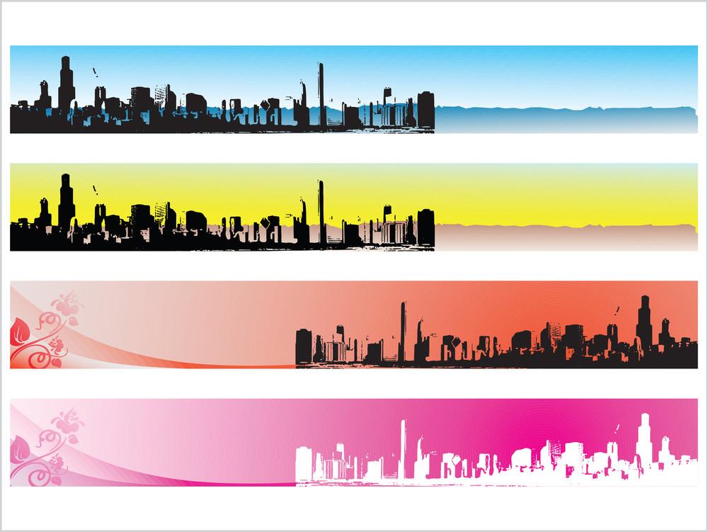 Web 2.0 Style Grunge City Series Website Banner Set 3