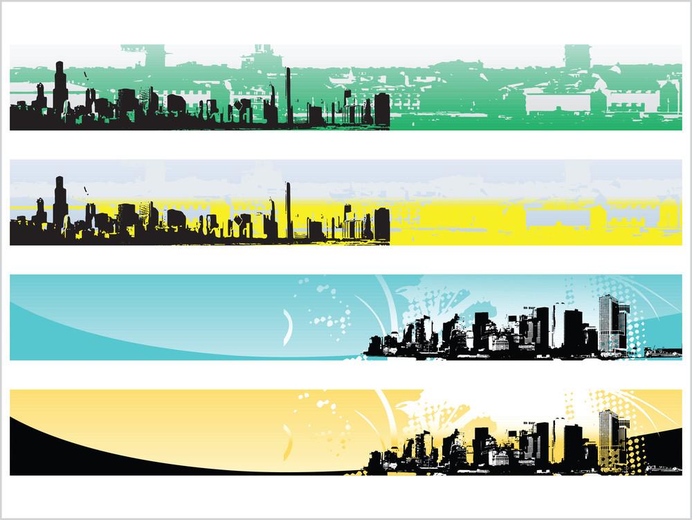 Web 2.0 Style Grunge City Series Website Banner Set 5