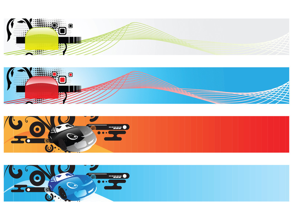 Web 2.0 Wavy Banners Set With Swirl And Car