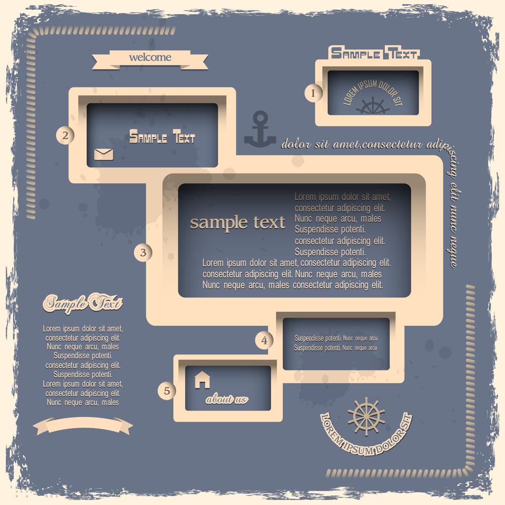 Web Design Template In Retro Style