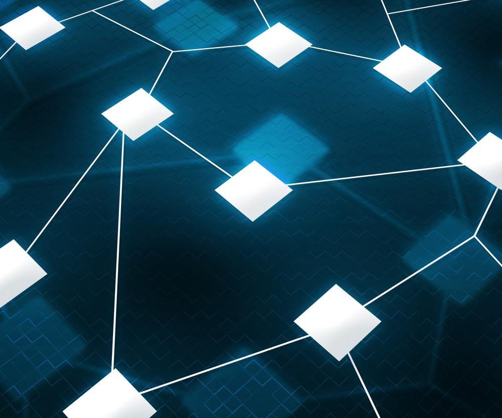 Web Network Image Blue Background