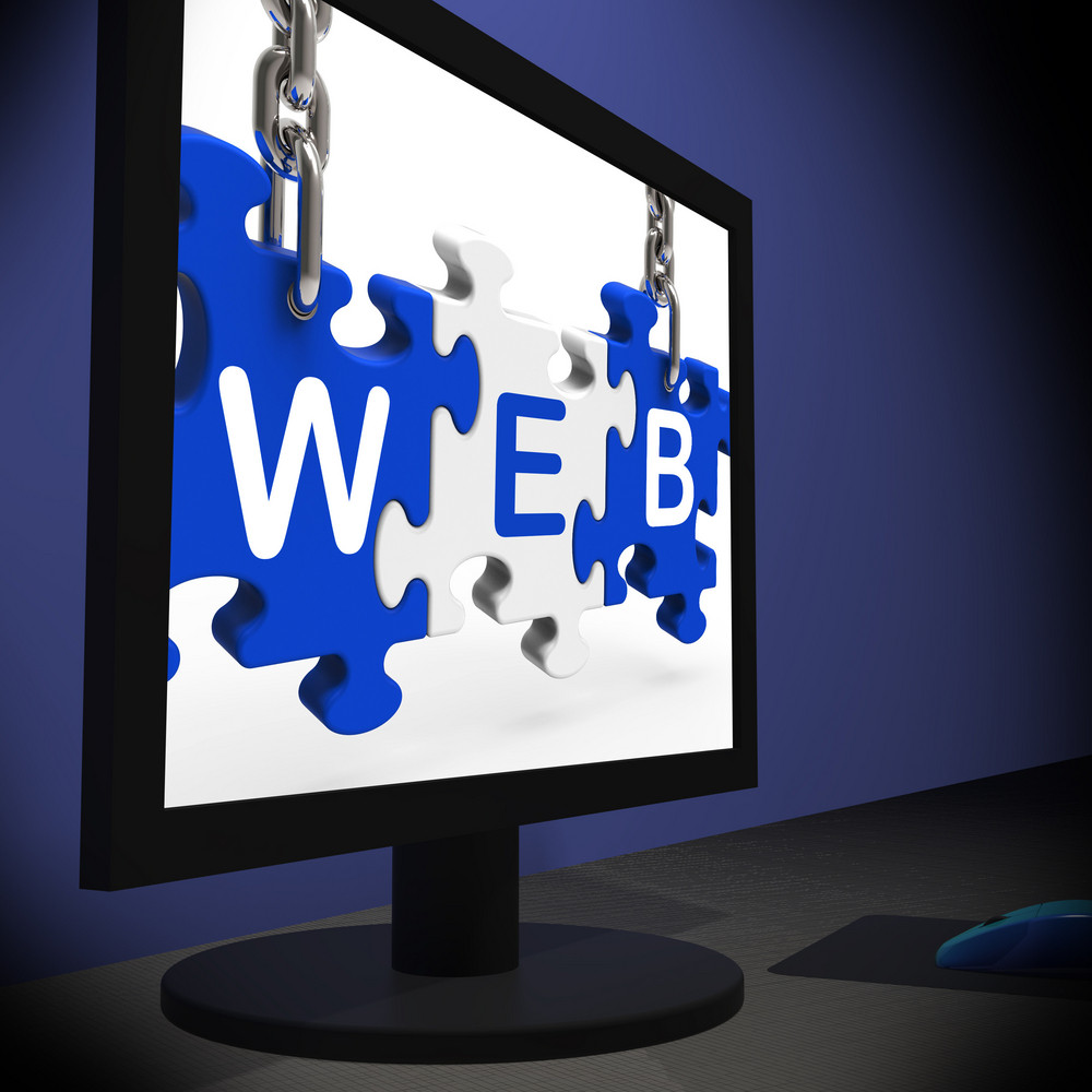 Web On Monitor Shows Online Searching