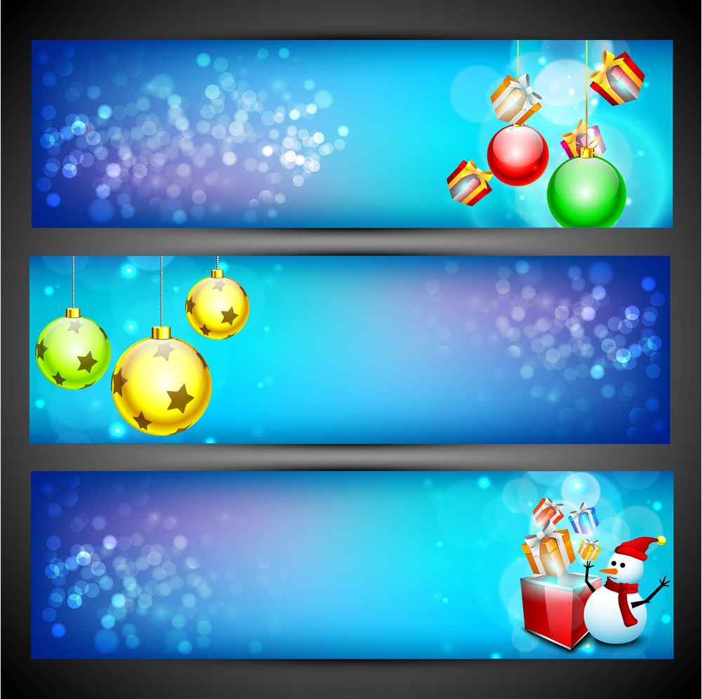Website Headers And Banners Set For Happy New Year.