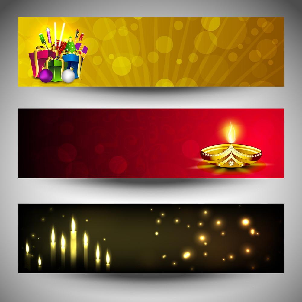 Website Headers Or Banners For For Hindu Community Festival Diwali Or Deepawali.