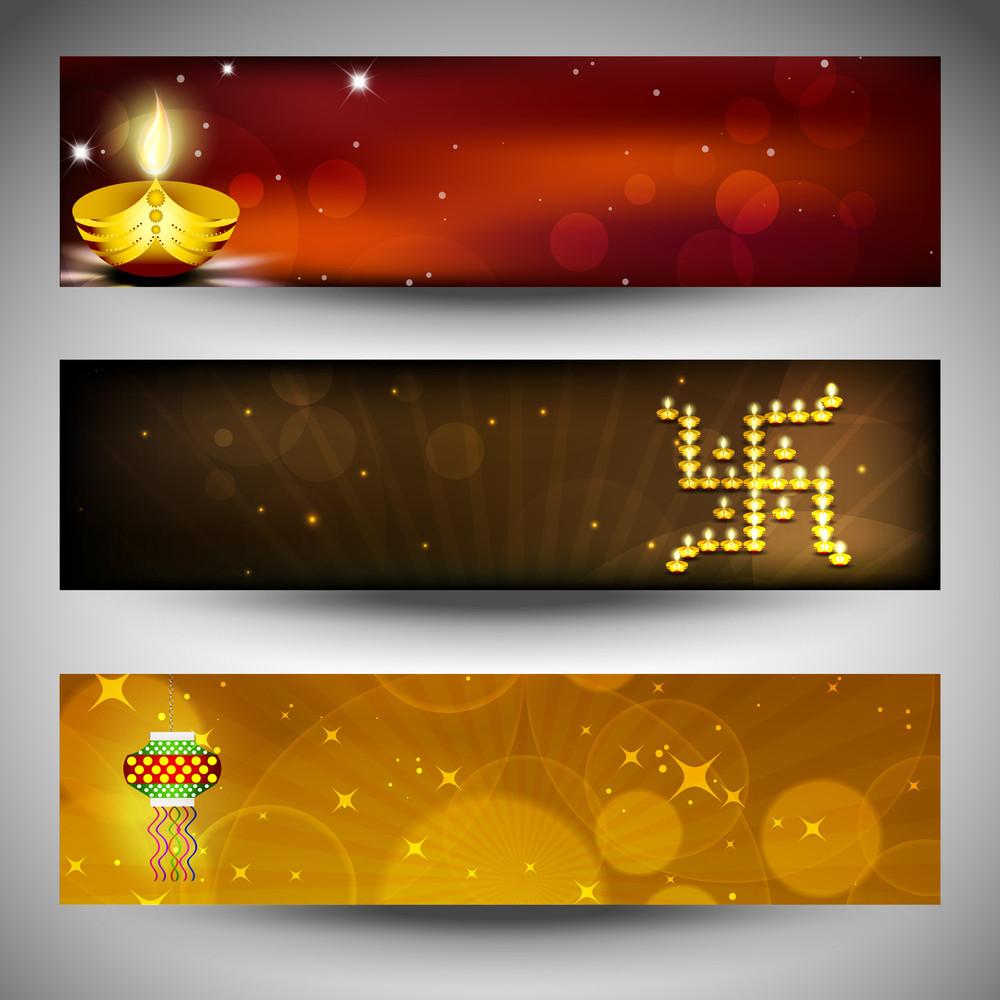 Website Headers Or Banners For For Hindu Community Festival Diwali Or Deepawali. Eps 10