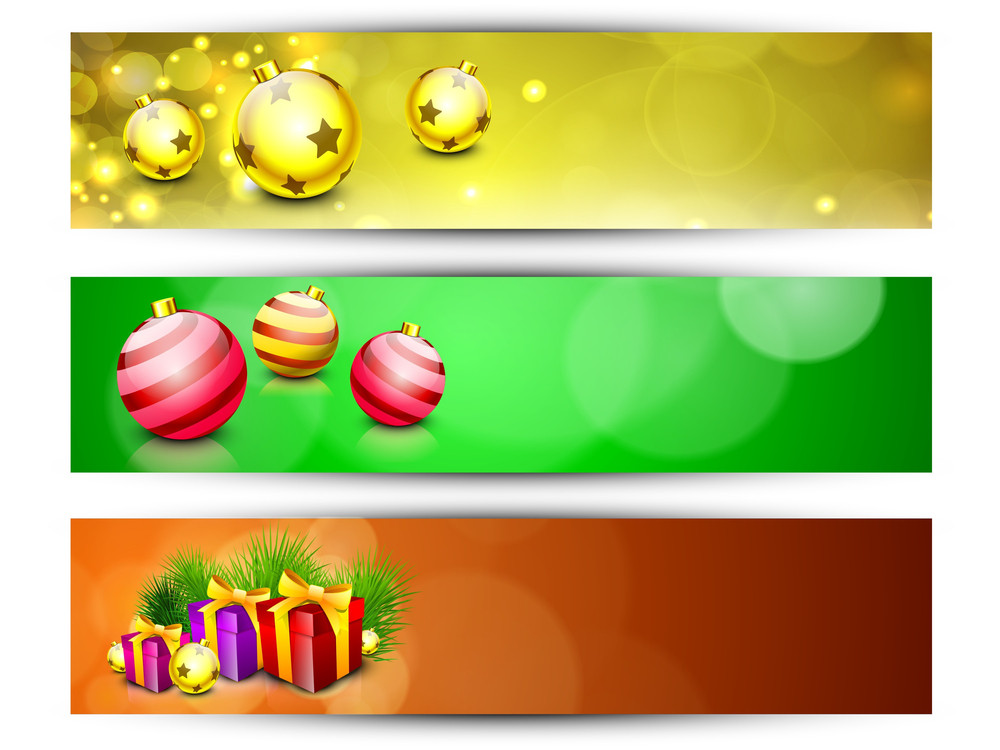 Website Headers Or Banners For Happy New Year And Merry Christmas