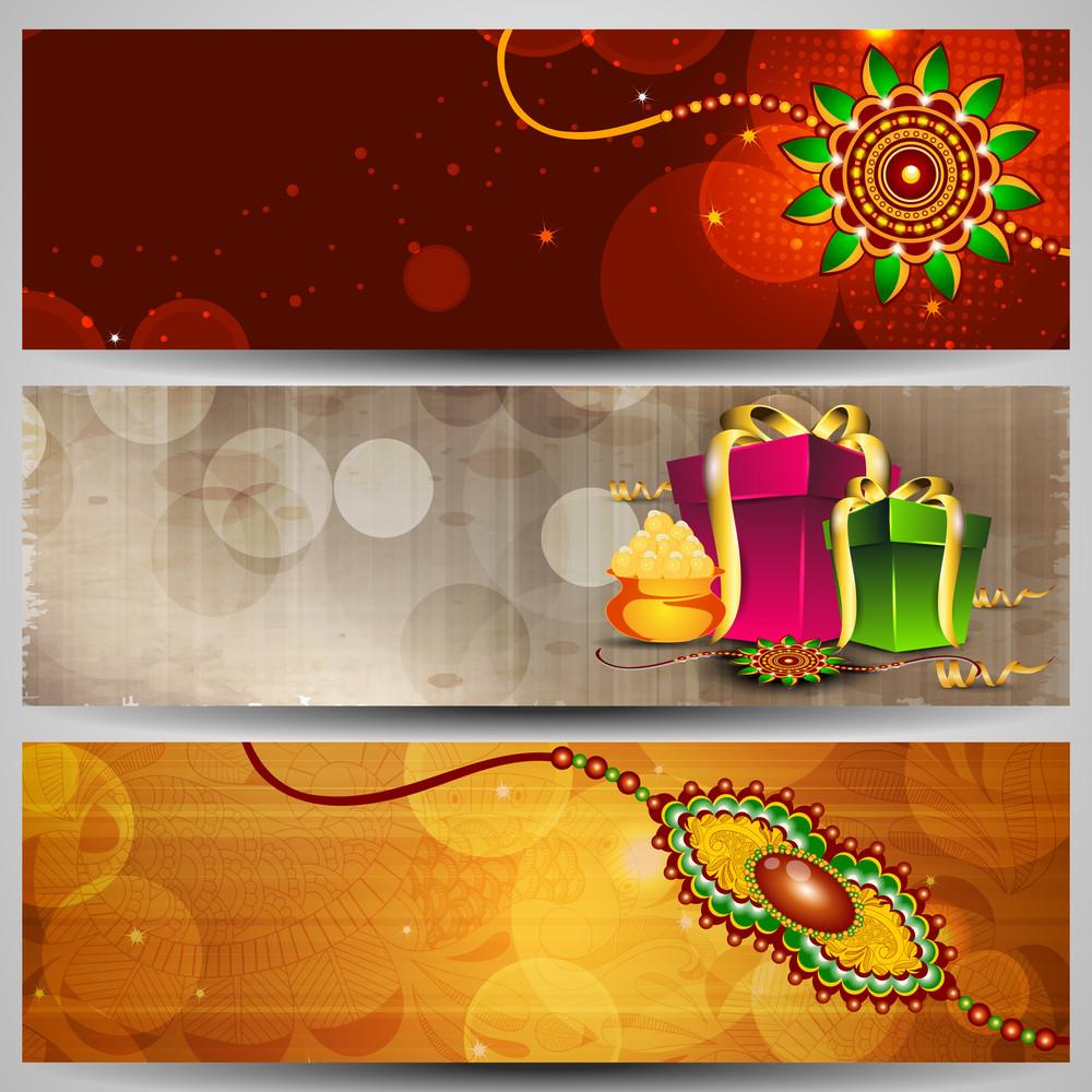 Website Headers Or Banners For Raksha Bandhan Celebration.