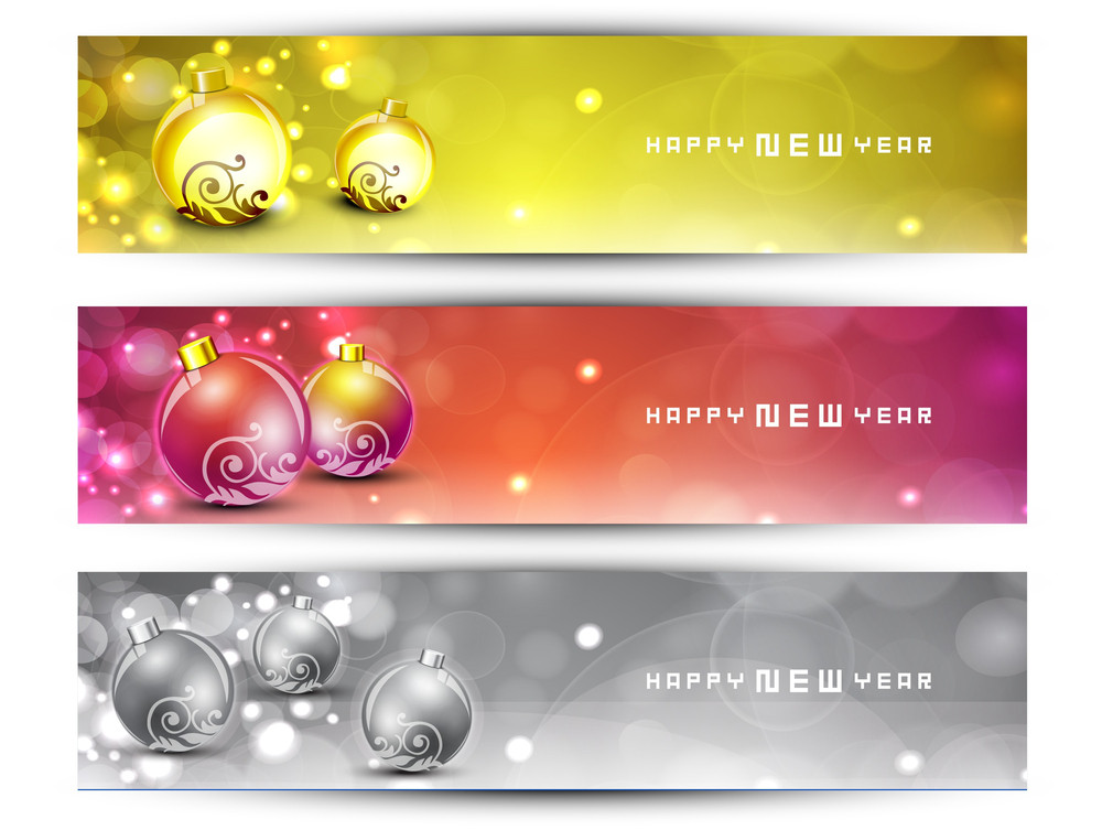 Website Headers Or Banners With Decorative Xmas Balls On Snow Flakes