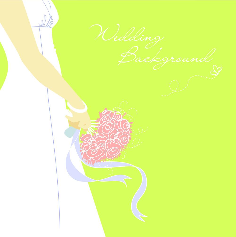 Wedding Background. Bride With Bouquet-