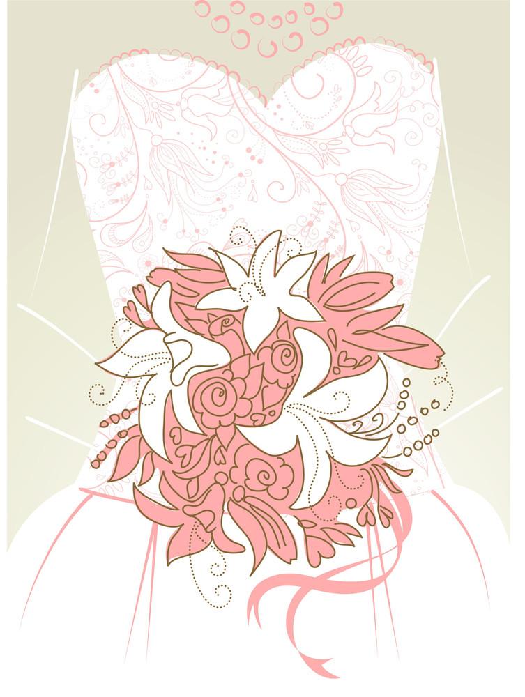 Wedding Background. Bride With Bouquet