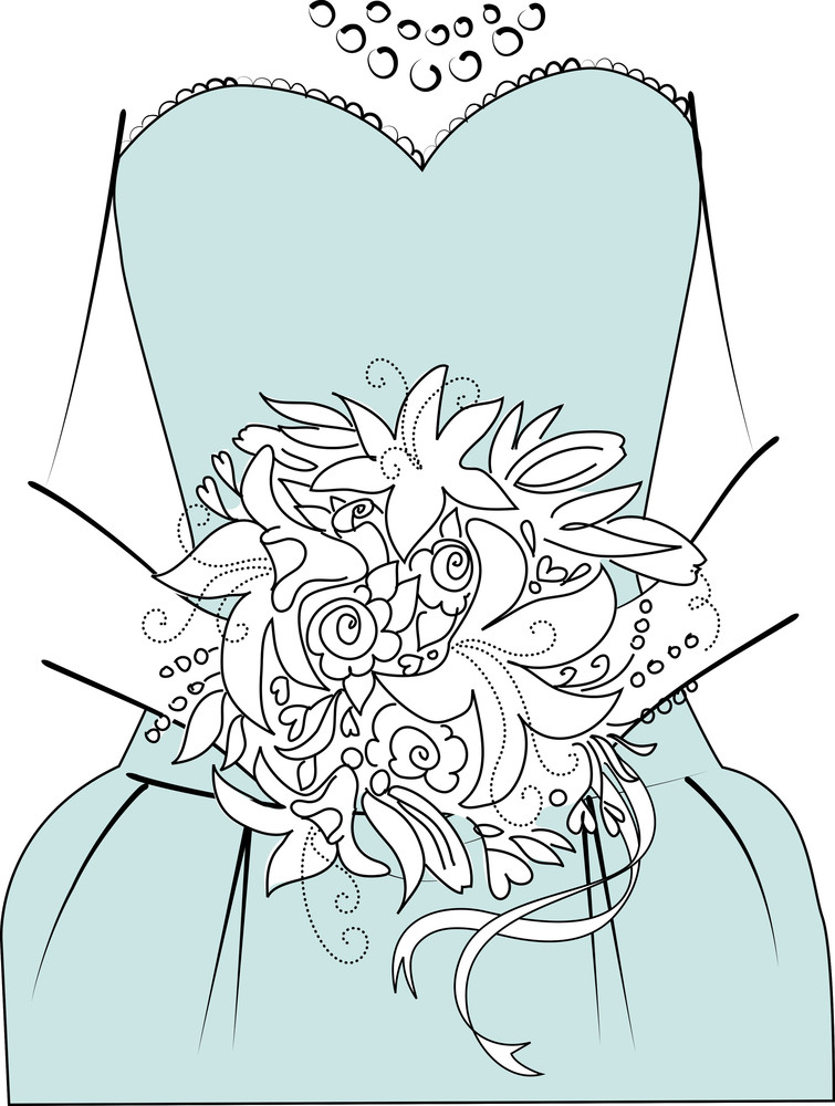 Wedding Background. Bridesmaid With Bouquet