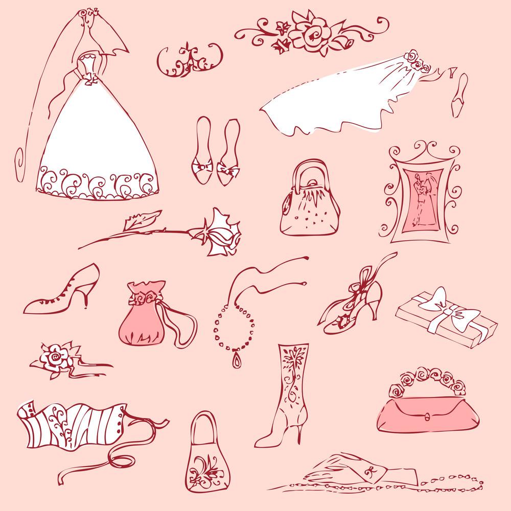 Wedding Set Of Cute Glamorous Doodles