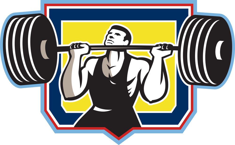 Weightlifter Lifting Heavy Barbell Retro