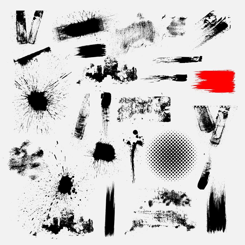Weird Grunge Dirty Splatters And Shapes Vector Set