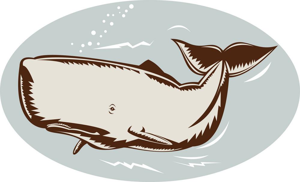Whale Retro Woodcut