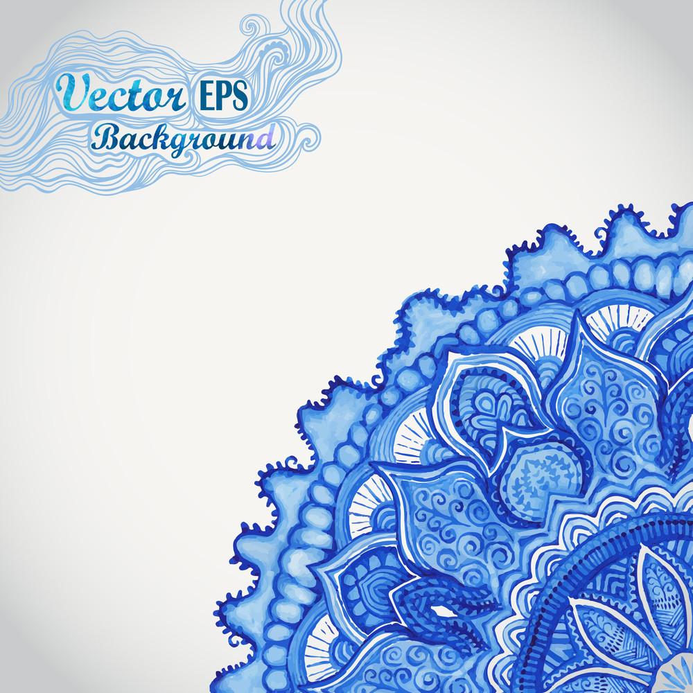 White And Blue Ornament.watercolor Vector Gzhel. Doily Corner Lace Pattern