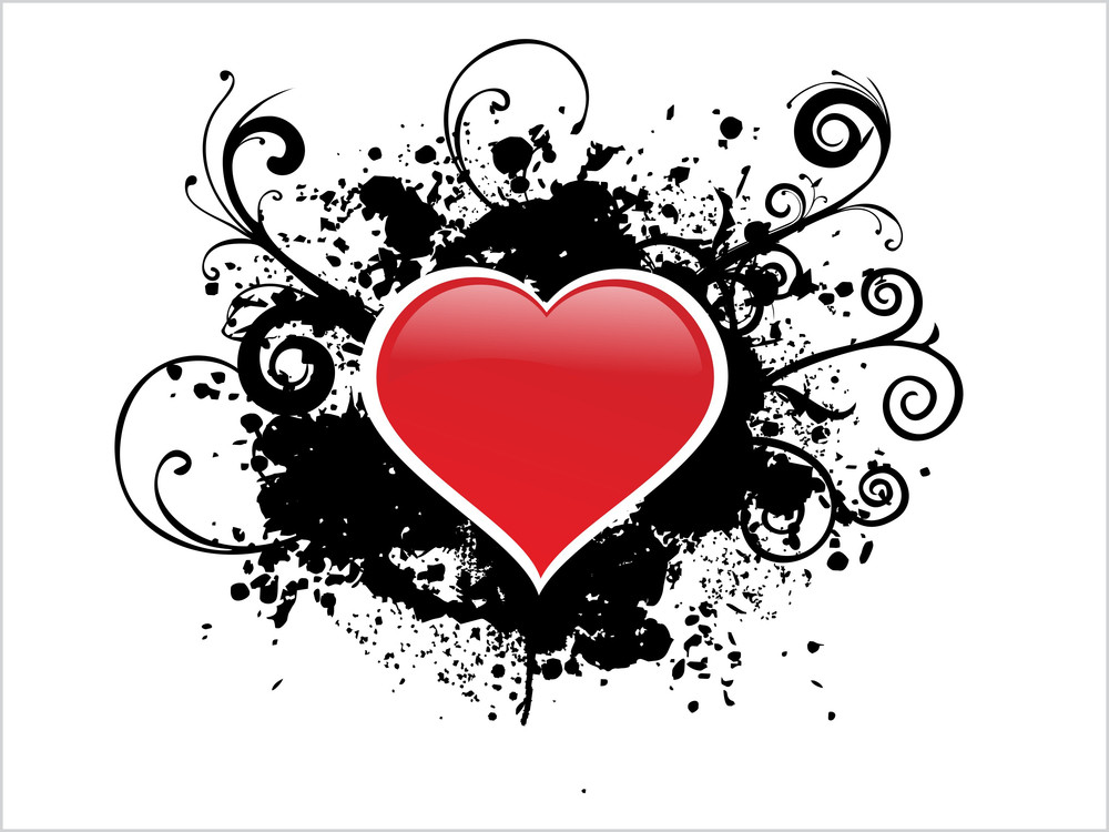 White Background With Black Grunge Heart