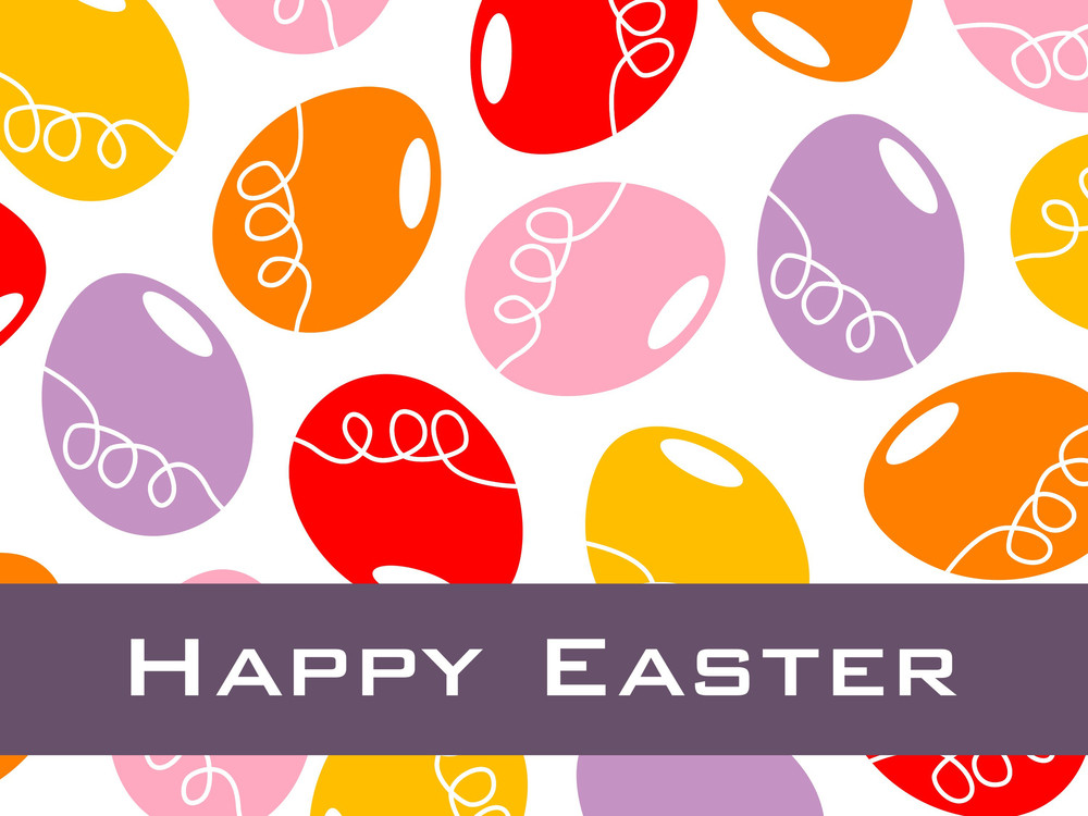 White Background With Colorful Egg